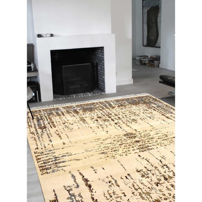 Tapis de salon beige line ivoire gris 250x300 par impalo tapis moderne 250 x 300 cm gris - Tapis salon beige ...
