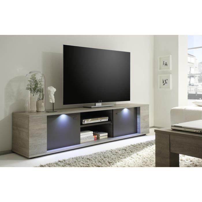 Meuble tv contemporain 2 portes 1 niche avec clairage ch ne gris gris mat ne - Meuble tv avec niche ...
