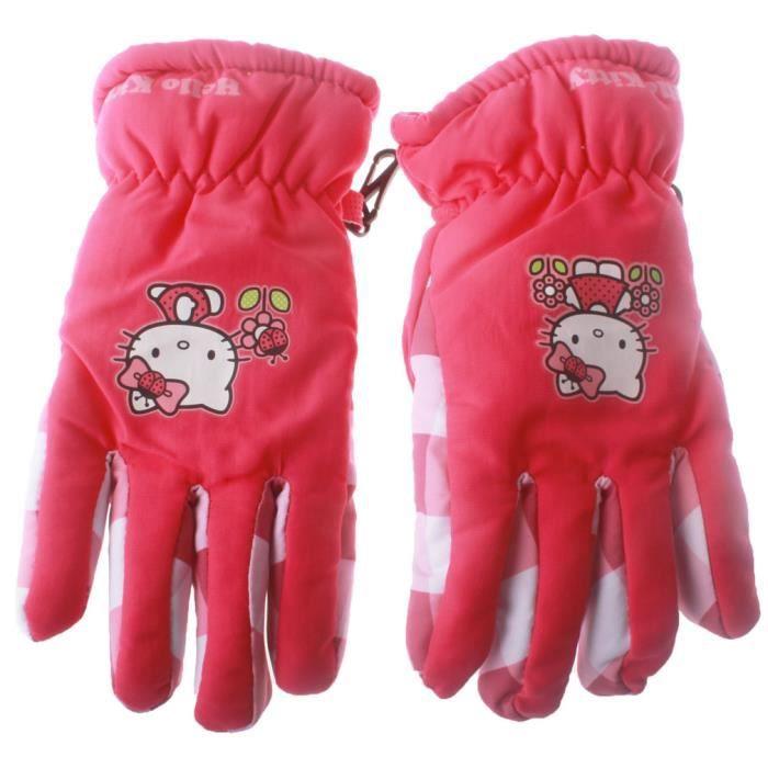 gants de ski enfant fille hello rose fonc achat vente gant mitaine gants de ski enfant. Black Bedroom Furniture Sets. Home Design Ideas