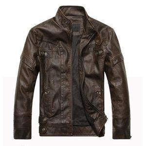 BLOUSON Mode Hommes Cuir cuir manteaux de moto veste la...