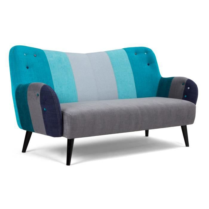 canap 2 places phoenix de style r tro gris et bleu massivum achat vente canap sofa. Black Bedroom Furniture Sets. Home Design Ideas