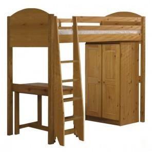 lit mezzanine armoire bureau verona pin miel avec. Black Bedroom Furniture Sets. Home Design Ideas