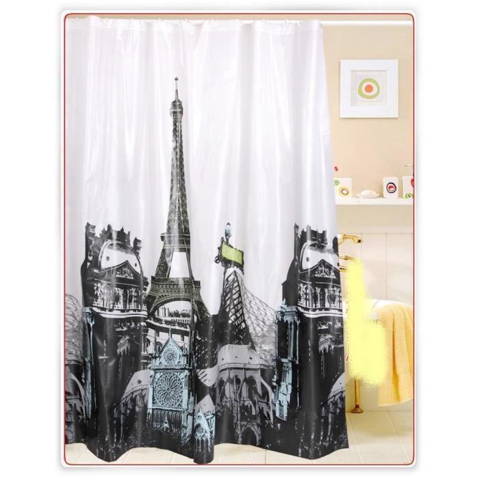 Rideau de douche paris 180x180 cm achat vente rideau de douche cadeaux de no l cdiscount - Rideau de douche 180x180 ...
