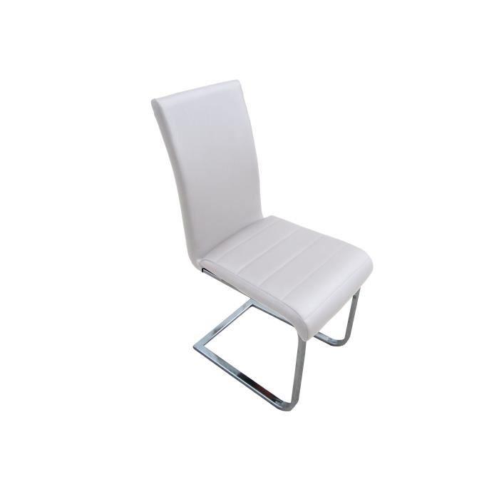 Lot De 4 Chaises Luc Blanc En Simili Cuir Design Achat