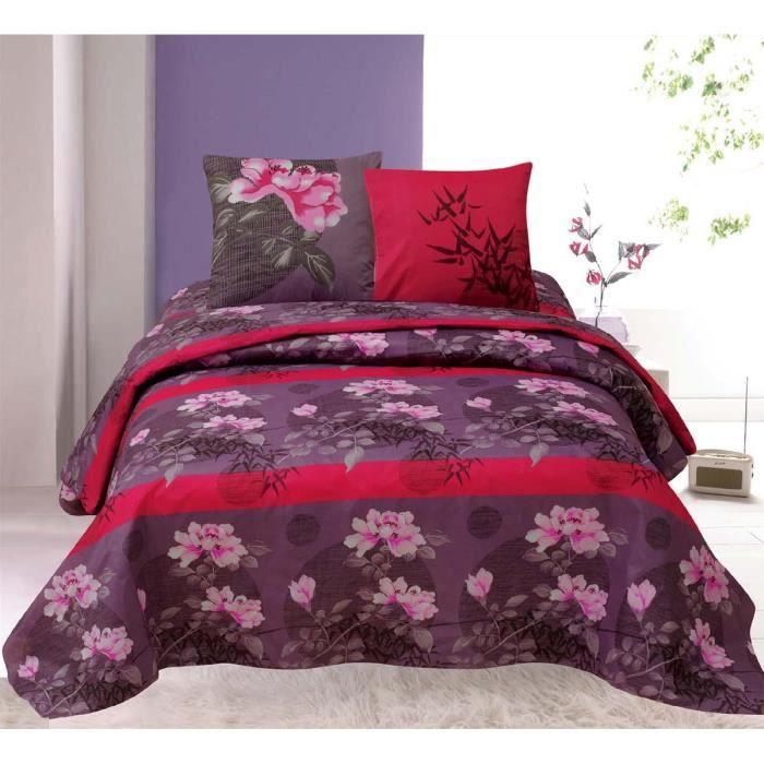 parure de lit 4 pi ces pivoines pour lit 2 personnes achat vente parure de drap cdiscount. Black Bedroom Furniture Sets. Home Design Ideas