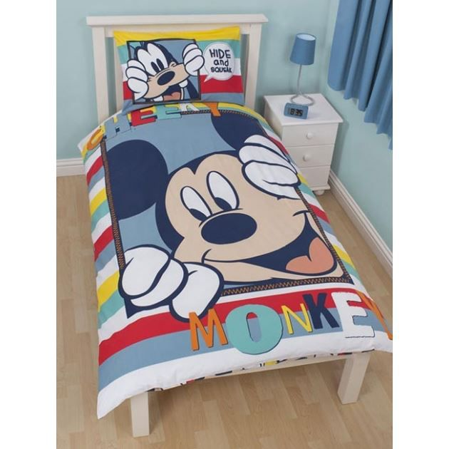 mickey parure de lit housse de couette 140 achat. Black Bedroom Furniture Sets. Home Design Ideas