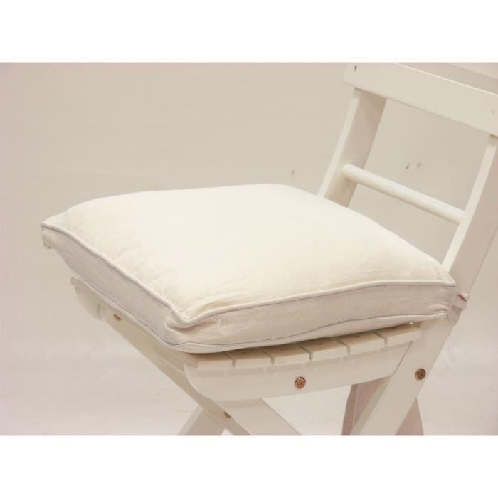 Galette de chaise 21 java ivoire achat vente coussin - Galette de chaise blanc ...