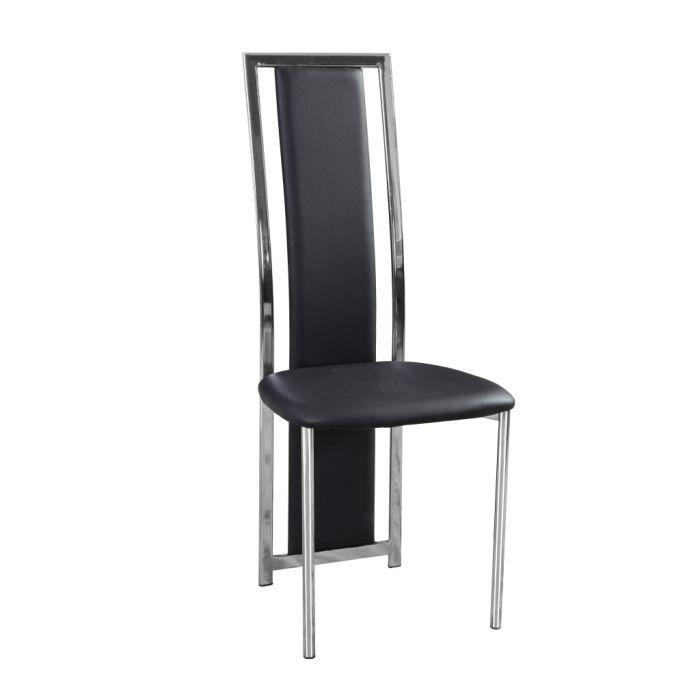 chaise mira acier chrom et cuir noir par 6 achat vente chaise les soldes sur cdiscount. Black Bedroom Furniture Sets. Home Design Ideas