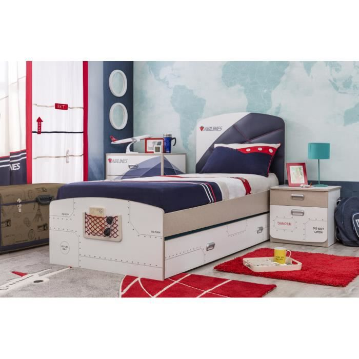 Chambre avion first class compl te by ilek achat for First chambre complete adulte 140cm laque blanc