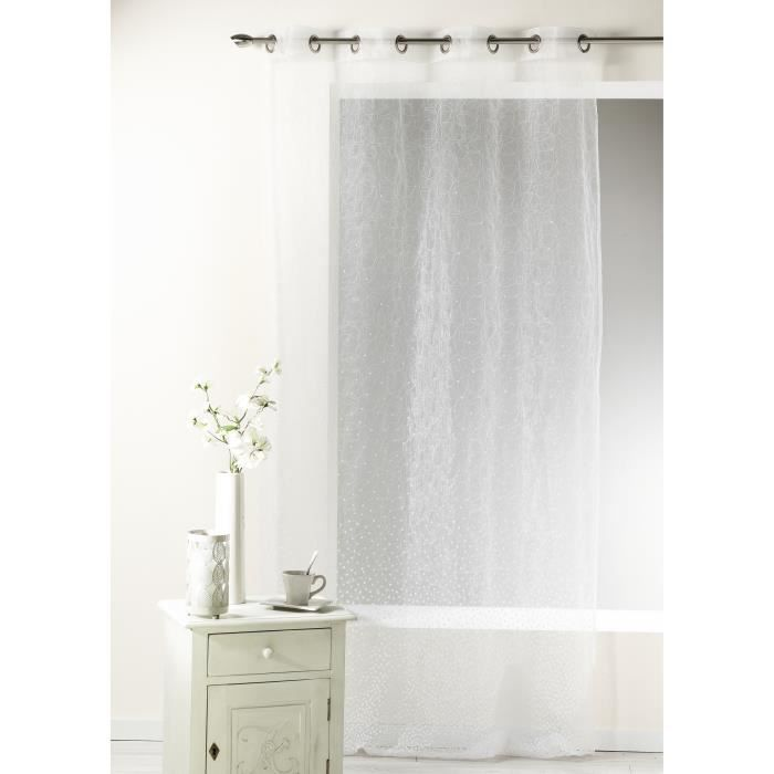 Voilage en organza d vor et brod blanc 140 x achat vente rideau orga - Voilage organza blanc ...