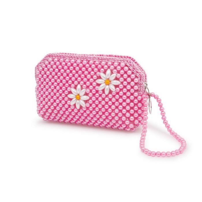 sac main rose perles pour enfants samantha achat vente sac main rose perles po. Black Bedroom Furniture Sets. Home Design Ideas