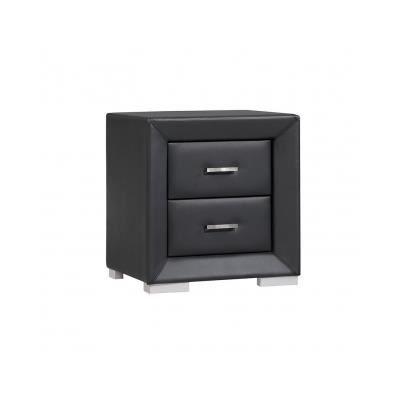 Chevet capitole 2 tiroirs simili noir achat vente - Table de chevet cuir noir ...