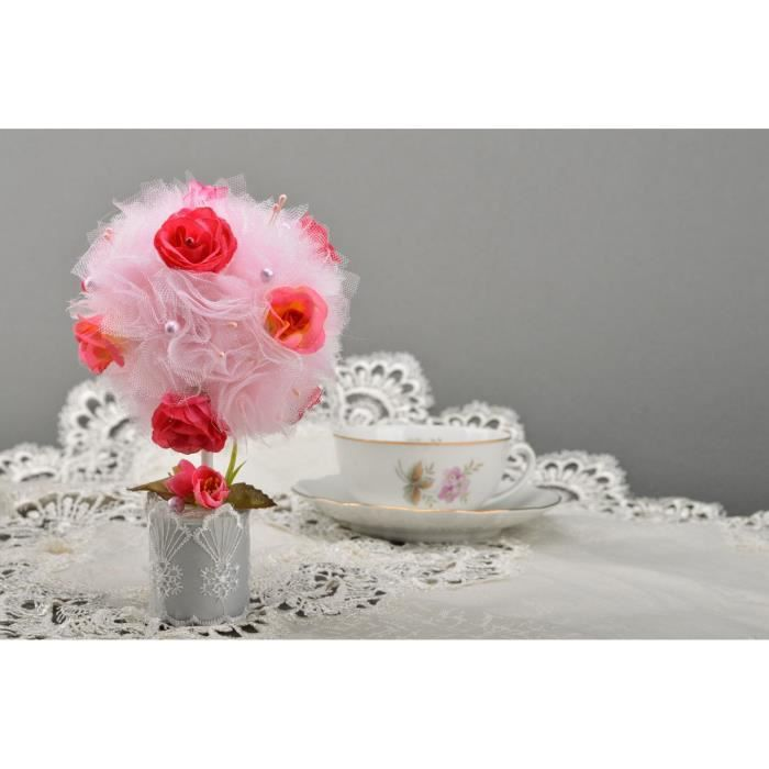 Petit arbre artificiel topiaire en tulle avec fleurs - Petit arbre decoratif ...