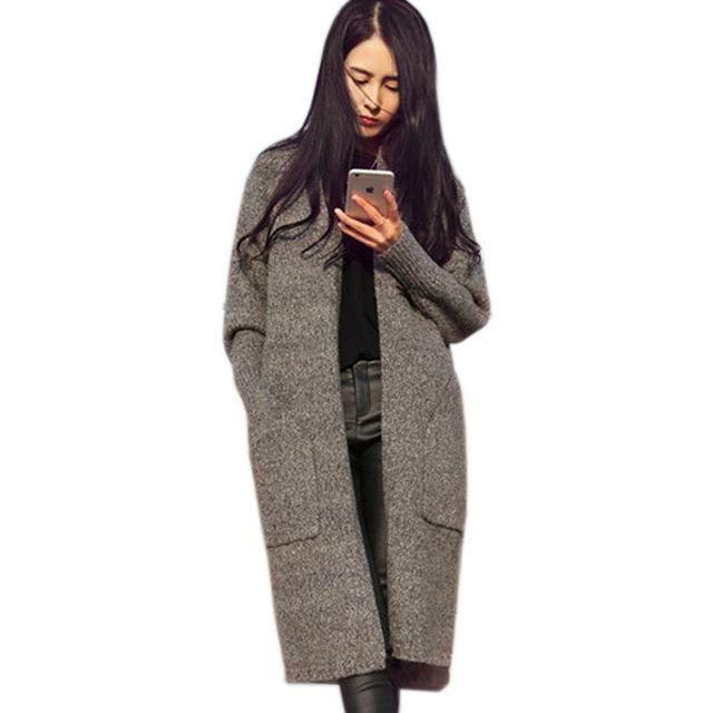 Femmes long cardigans automne hiver paissir manteau oversize tricot casual - Site de laine pas cher ...