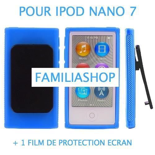 Housse coque silicone bleu avec clip ipod nano 7g achat for Housse ipod nano