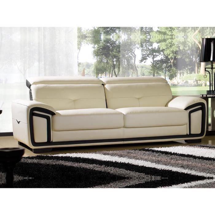 canap cuir luxe 3 places hamilton beige et noir achat vente canap sofa divan cdiscount. Black Bedroom Furniture Sets. Home Design Ideas