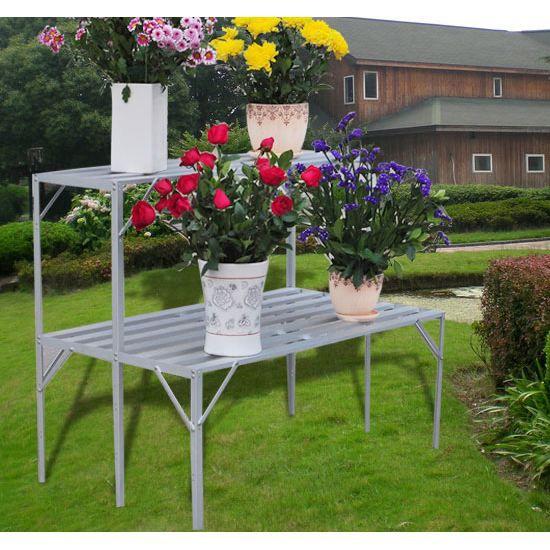 table porte plante en aluminium pour jardin serre achat vente meuble support plante porte. Black Bedroom Furniture Sets. Home Design Ideas