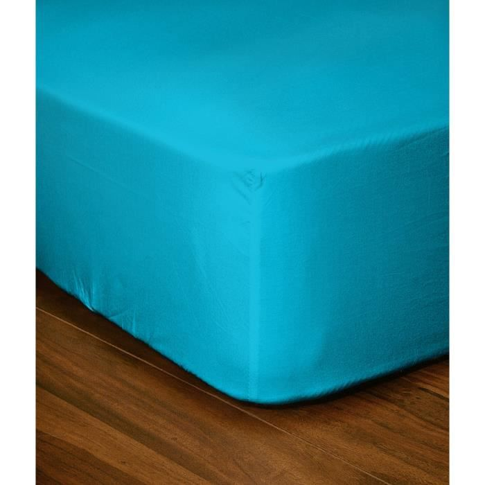 lovely home drap housse 140x190 25 turquoise achat vente drap housse cdiscount. Black Bedroom Furniture Sets. Home Design Ideas