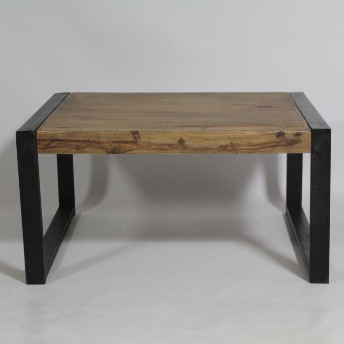 Table Basse Carre Industriel Metal Noir Achat Vente
