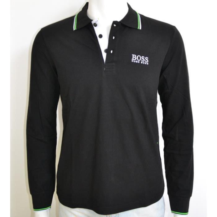 polo hugo boss green manches longues noir noir noir achat vente polo cadeaux de no l cdiscount. Black Bedroom Furniture Sets. Home Design Ideas
