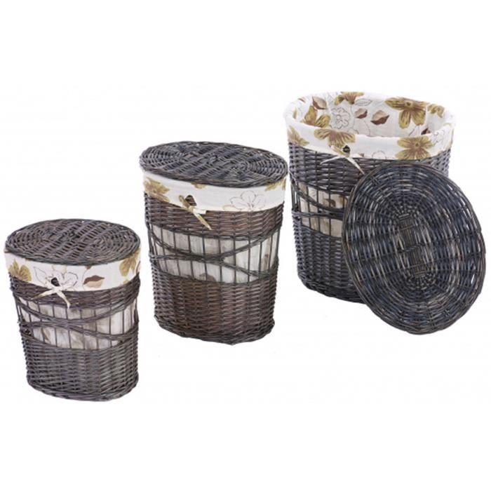 Ensemble de 3 paniers linge avec sac en osier achat vente panier a linge ensemble de 3 - Panier en osier avec couvercle ...
