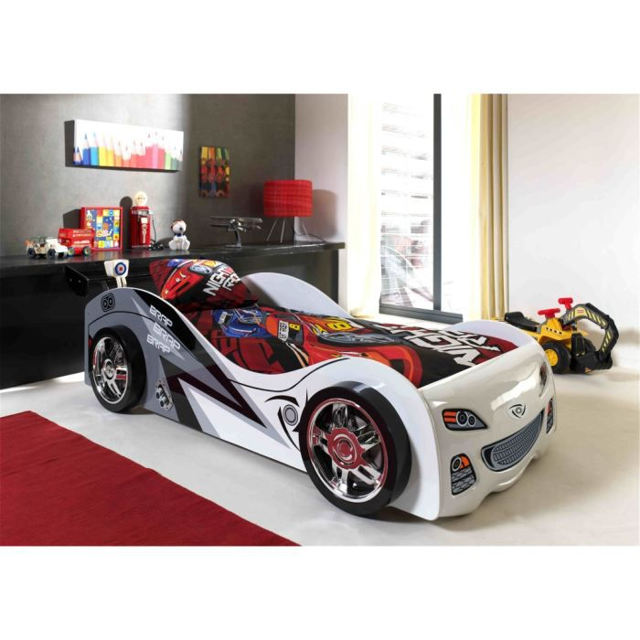 Lit voiture swithome texas blanc achat vente structure de lit lit voiture - Lit voiture cdiscount ...