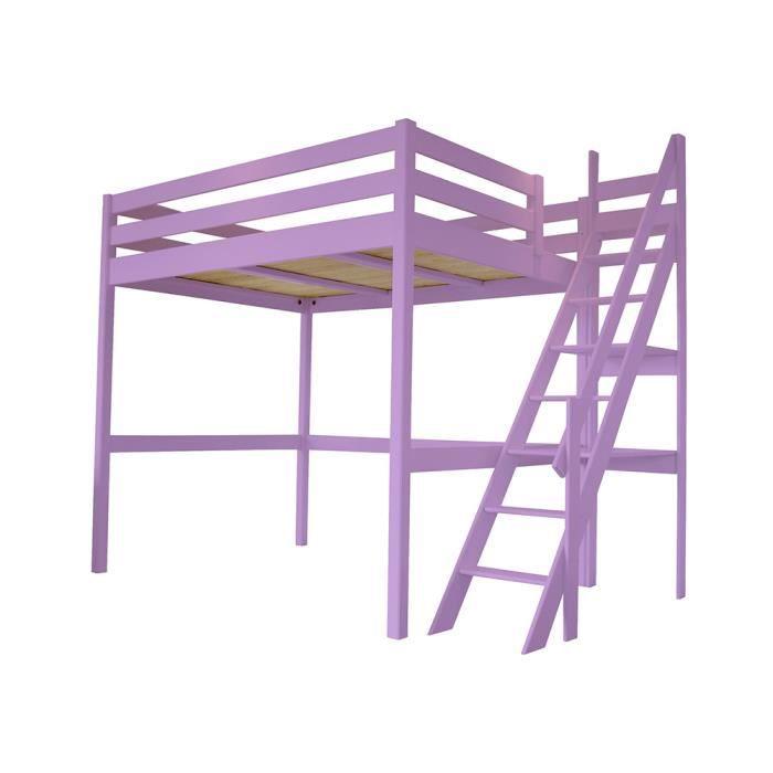 lit mezzanine sylvia avec escalier de meunier bois 3760240545576 achat vente lit mezzanine. Black Bedroom Furniture Sets. Home Design Ideas