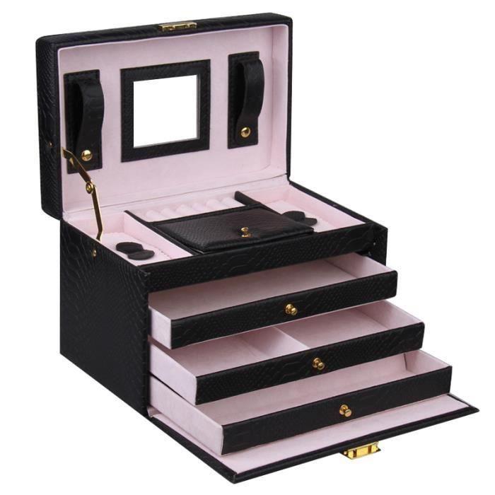bo te coffret pr sentoir bijoux noir femme petite bo te bijoux de voyage femme achat. Black Bedroom Furniture Sets. Home Design Ideas