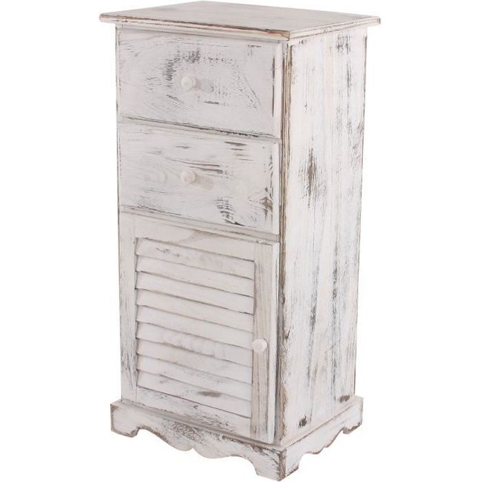 commode armoire 2 tiroirs 1 porte 40x32x80cm shabby vintage blanc achat vente commode. Black Bedroom Furniture Sets. Home Design Ideas