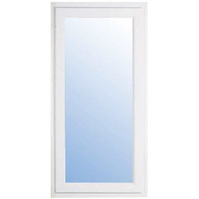 Fixe pvc blanc h 195 cm x l 40 cm double vitrage achat for Vitre fixe double vitrage