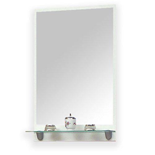 Meuble de salle de bain sorjen avec tag re en verre blanc blanc brillance - Miroir salle de bain avec etagere ...