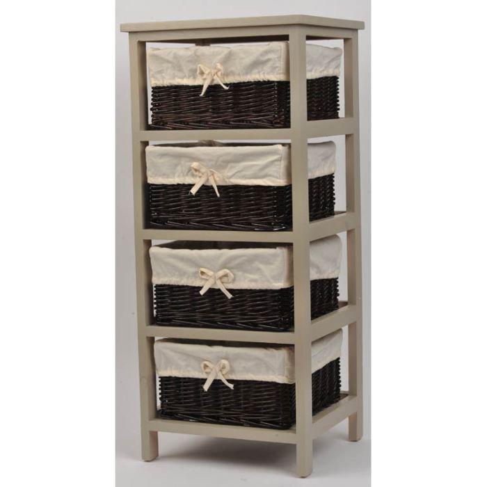 meuble bois et 4 paniers en osier achat vente petit. Black Bedroom Furniture Sets. Home Design Ideas