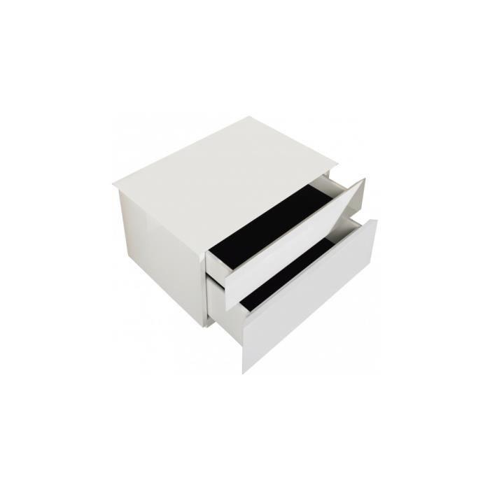 Chevet laqu blanc brillant 2 tiroirs achat vente chevet chevet laqu blanc brillant mdf - Panneau mdf laque blanc brillant ...