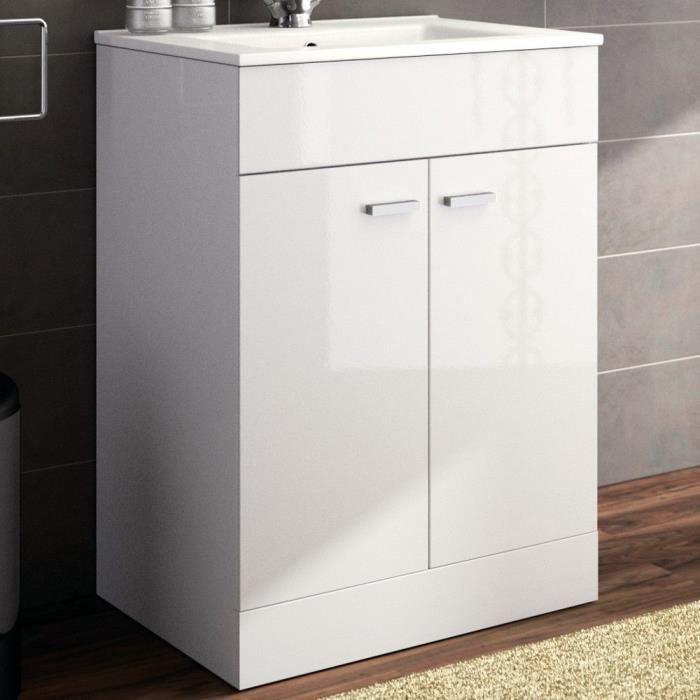 meuble salle de bain et vasque porcelaine 60 cm achat vente meuble vasque plan meuble. Black Bedroom Furniture Sets. Home Design Ideas