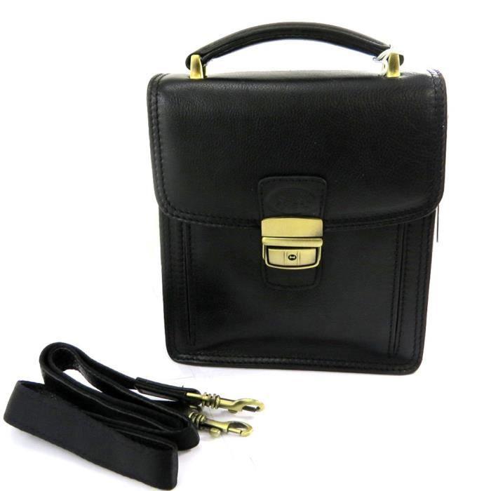 sacoche homme cuir lafayette noir 2 soufflets noir achat vente sacoche 3609521294577. Black Bedroom Furniture Sets. Home Design Ideas