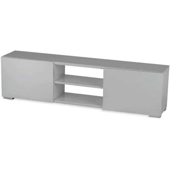 Meuble tv frida en mdf laqu gris 2 niches et 2 portes - Meuble tv gris laque ...