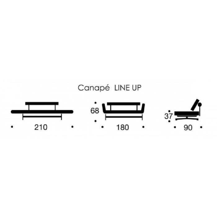 Canap lit design ghia noir convertible 90 210cm achat vente canap sof - Canape convertible 1 personne ...