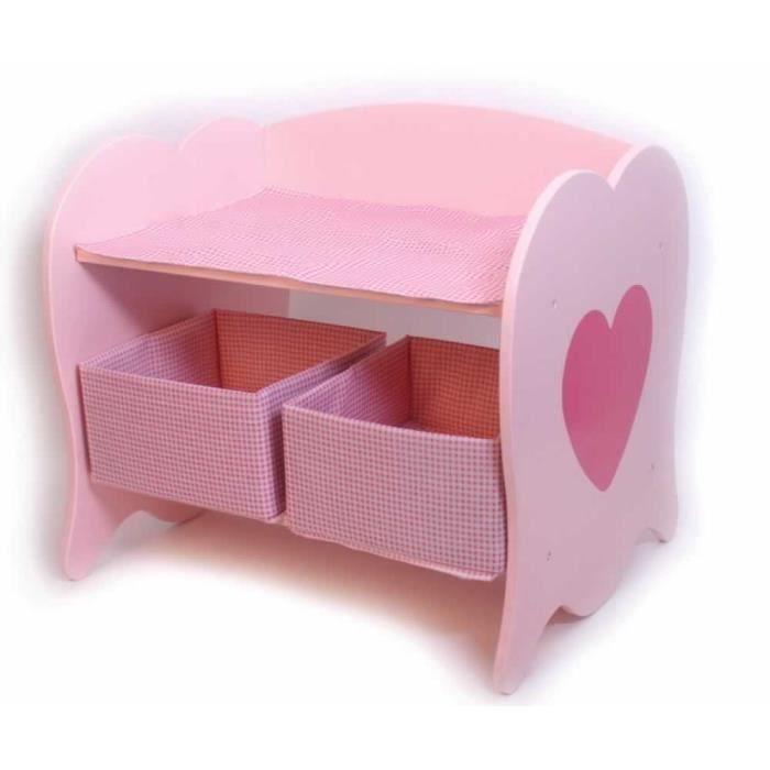 Commode langer en bois rose avec rangement valentina for Commode bebe rose