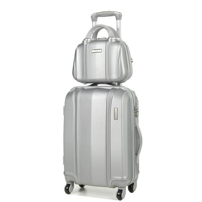 ensemble valise 54 cm et vanity 29 cm madisson 60002 silver achat vente valise bagage