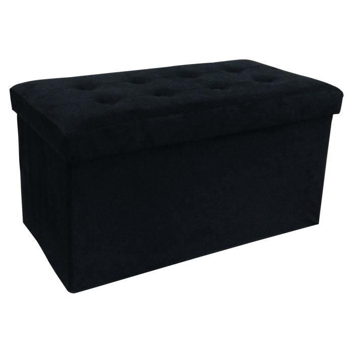Pouf coffre de rangement sissy 72x38x38 cm velours noir achat vente pouf - Coffre de rangement noir ...
