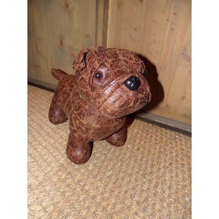 Cale porte chien bulldog marron vieilli aspect cuir imori for Cale porte decoratif
