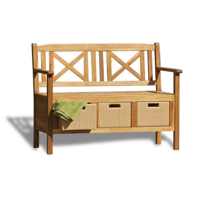 banc de jardin avec tiroirs en bois d accacia achat. Black Bedroom Furniture Sets. Home Design Ideas