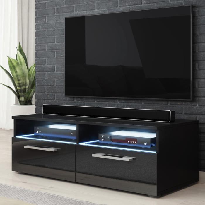 meuble tv silver noir mat noir brillant avec led bleue achat vente meuble tv meuble tv. Black Bedroom Furniture Sets. Home Design Ideas