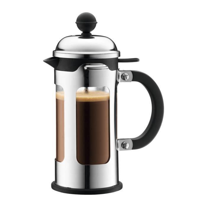 Bodum cafeti re piston chambord 3 tasses 0 35 l avec bec verseur noir argent et transparent - Cafetiere a piston bodum ...
