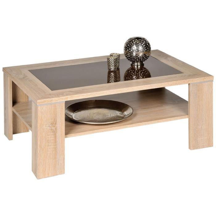 Table basse en bois de ch ne sonoma et verre brun 100 x 65 - Table basse chene et verre ...