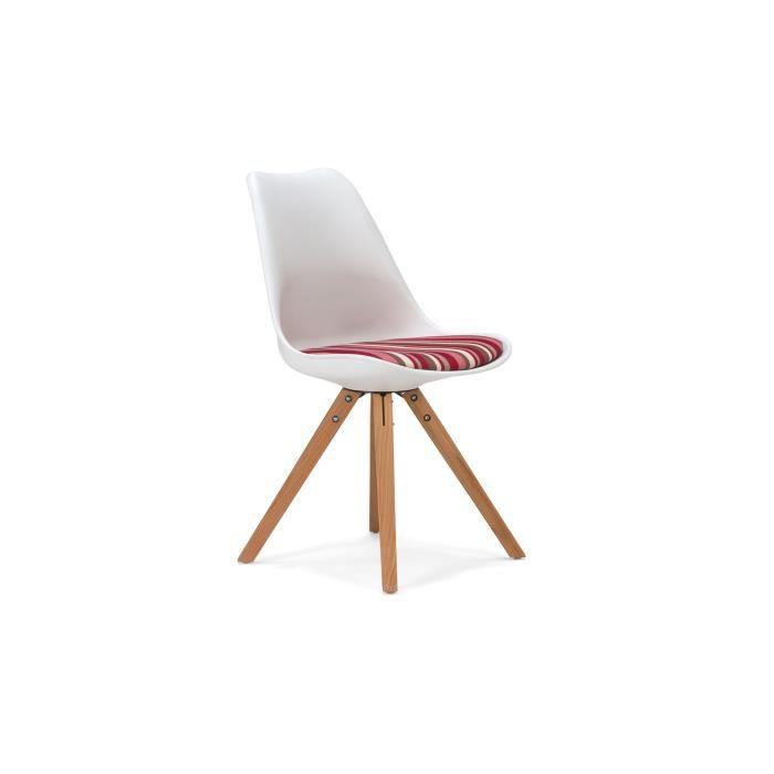 chaise california en plastique avec coussin rouge et blanc massivum achat vente chaise blanc. Black Bedroom Furniture Sets. Home Design Ideas