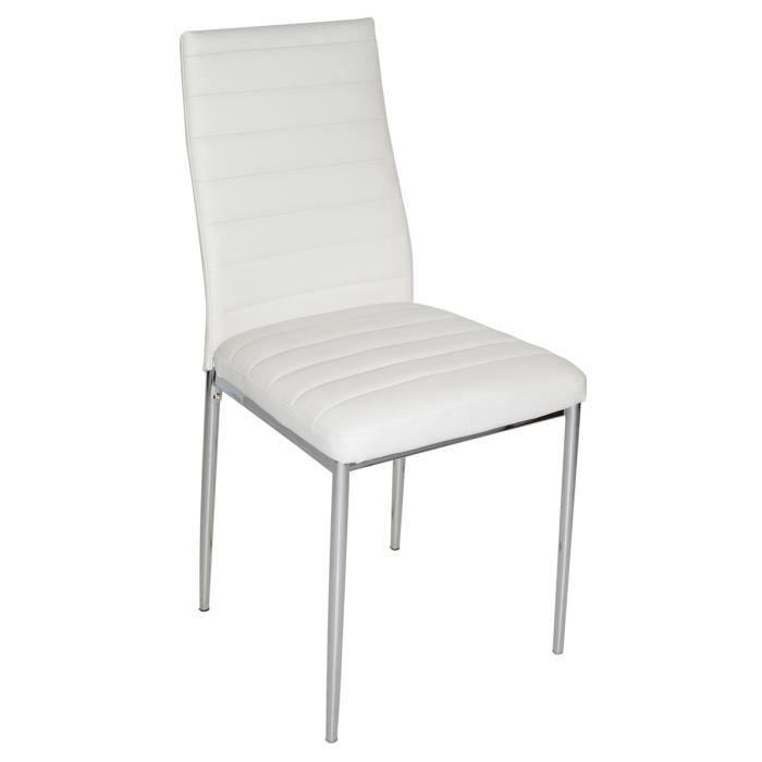 chaise de salon blanche avec pieds garniture chrom e 430 x 425 x 930 mm achat vente chaise. Black Bedroom Furniture Sets. Home Design Ideas