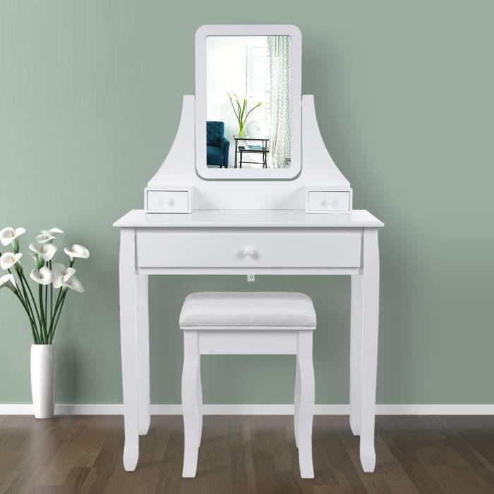 Songmics coiffeuse table blanche de maquillage avec for Meuble coiffeuse avec miroir conforama