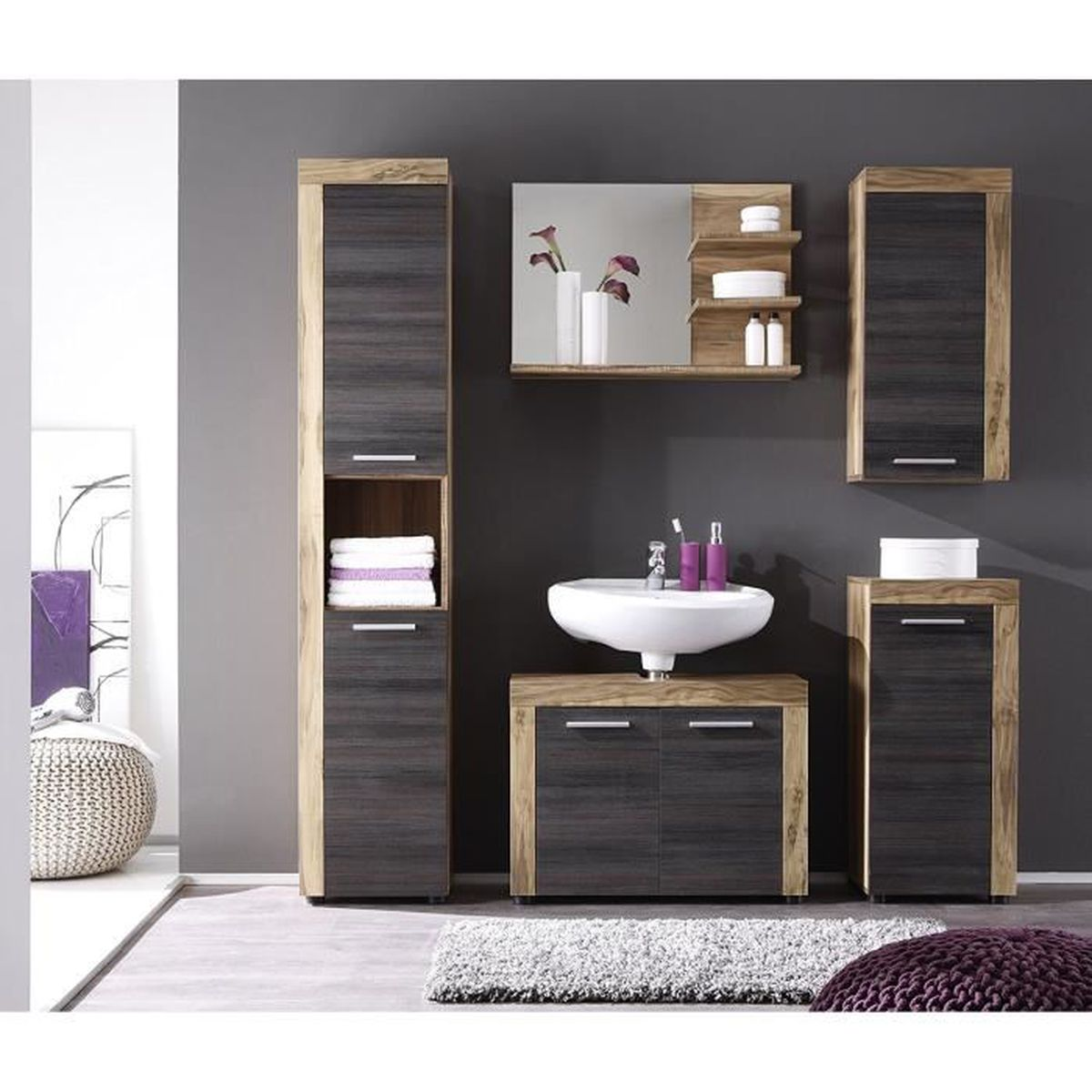 Ensemble 5 meubles de salle de bain noyer finition satin e for Finition meuble