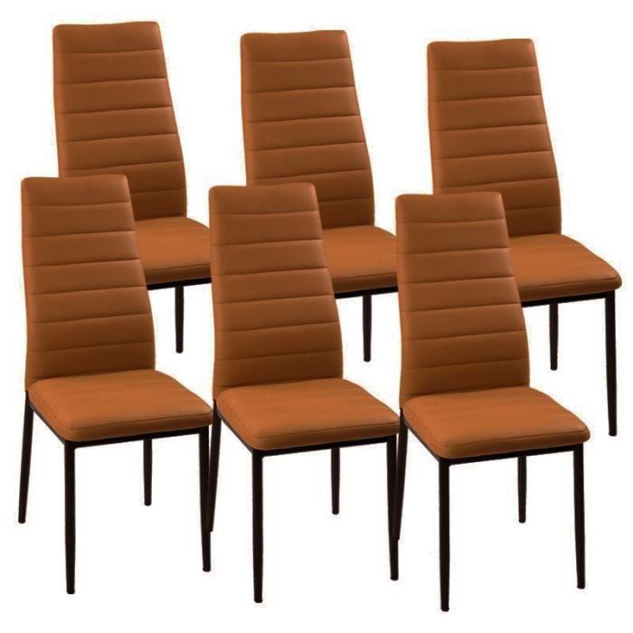 lot de 6 chaises marron matelass es achat vente chaise marron cdiscount. Black Bedroom Furniture Sets. Home Design Ideas